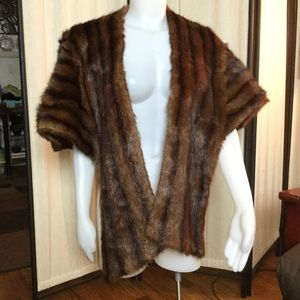 Vintage Fur stole with straps and hook/eye closure